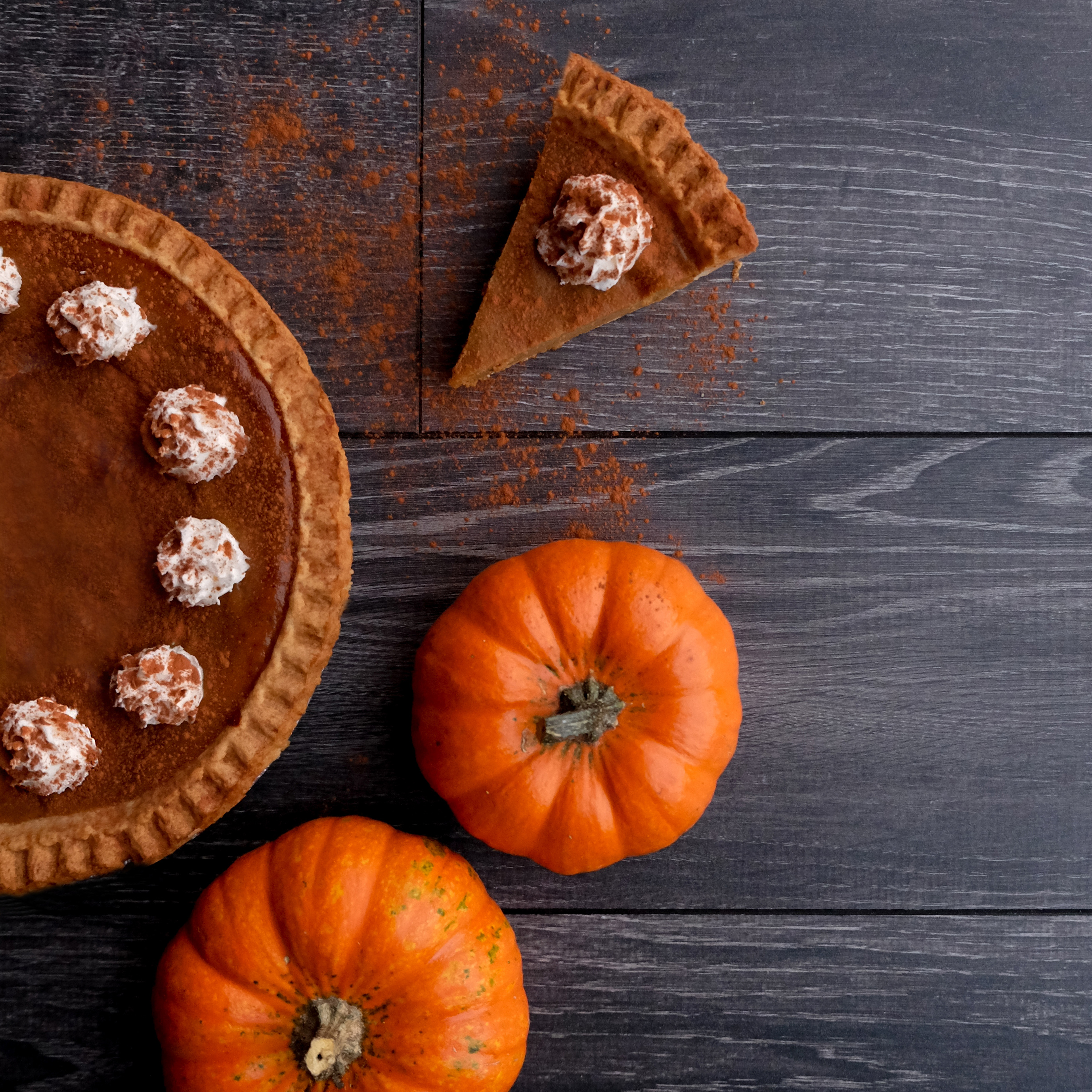 Thanksgiving image with pumpkin pie and mini pumpkins