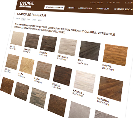 An image of evoke contract luxury vinyl product swatches on the site